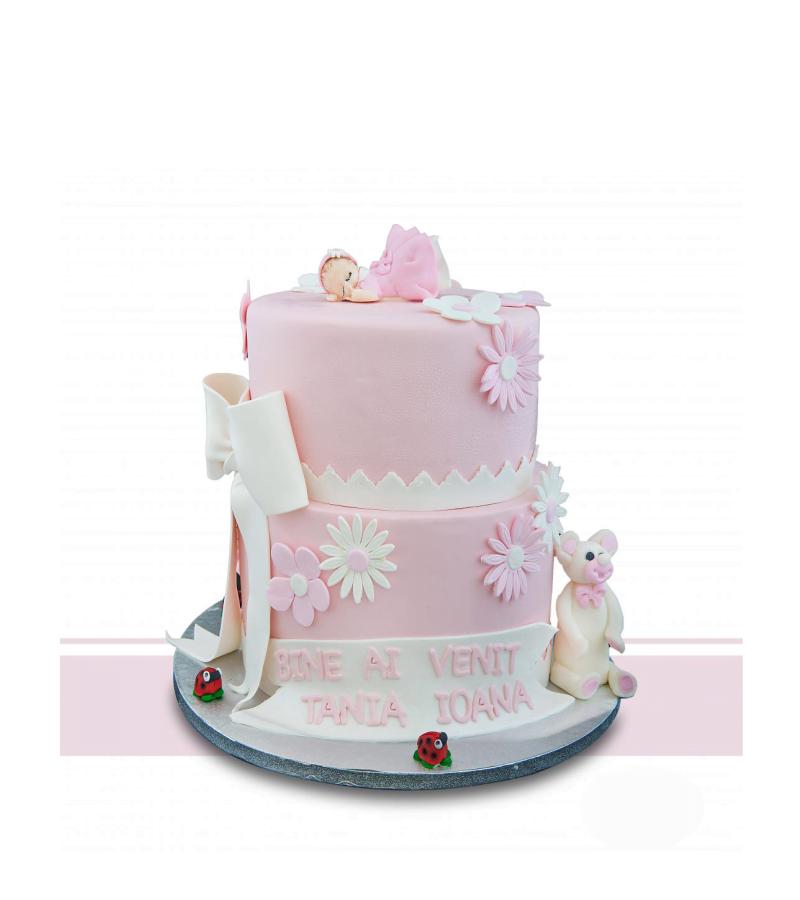 Tort Botez Roz Baby Girl