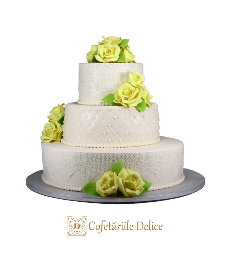Tort nunta alb sidefat