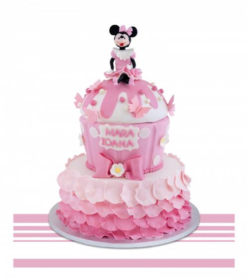 Tort copii aniversare sau botez Minnie Mouse Roz