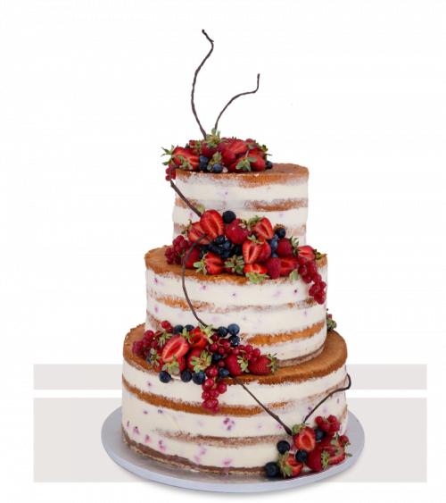 Tort de Nuntă Rustic Naked Cake cu fructe