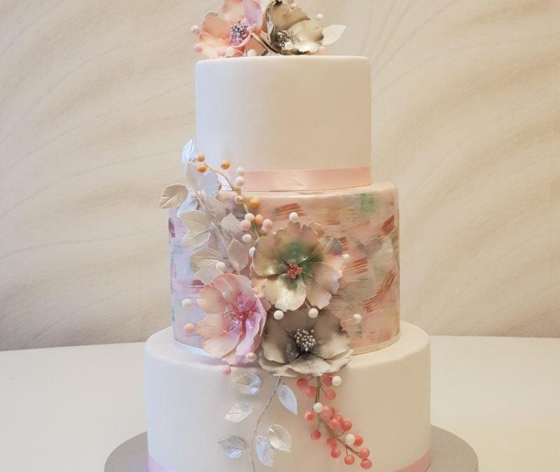 Tort nuntă Painted Flowers